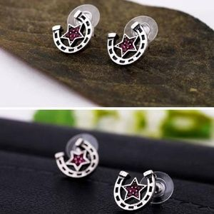 Star Horse Shoe Stud Earrings